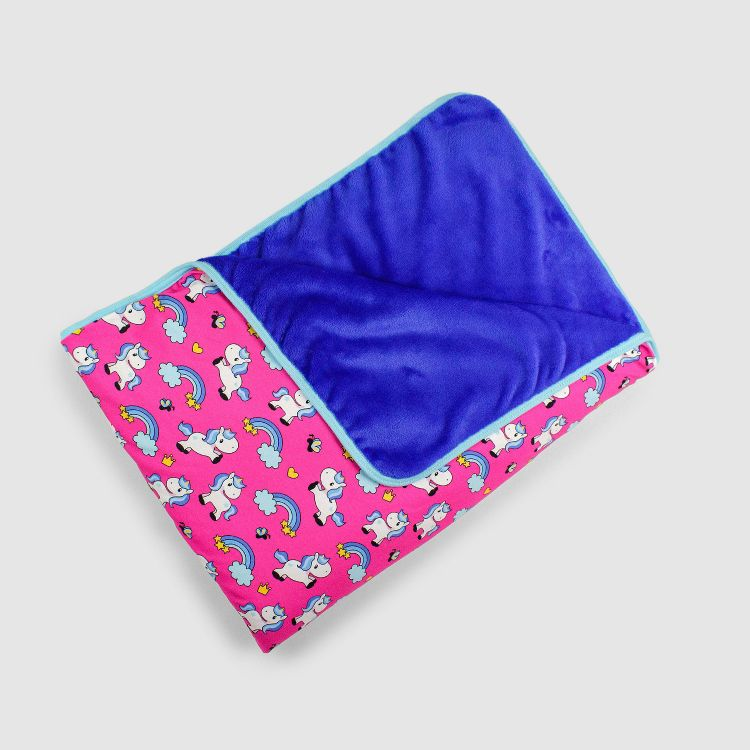 Kuscheldecke SuperXXL - ChubbyUnicorns-Pink-BlauBorderEdition