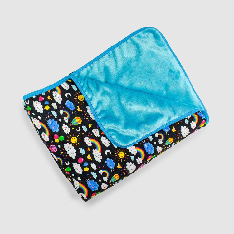 Kuscheldecke SuperXXL - RainbowsAndClouds-Black