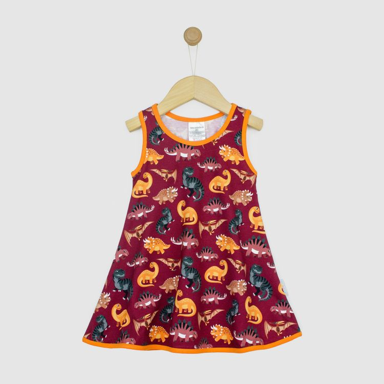 Kids-LittleMissSunshine-Dress - BabaubaBigDinos-Brown
