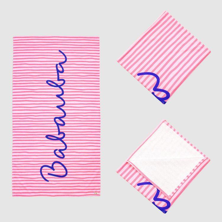 Badetuch Stripes-Pink