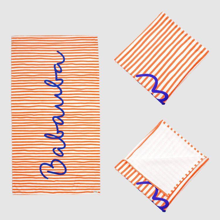 Badetuch Stripes-RedCream