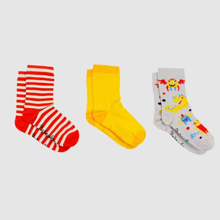 Kids-3er Set SockiSocks - WorldOfMonster/Currygelb/Stripes-RedCream