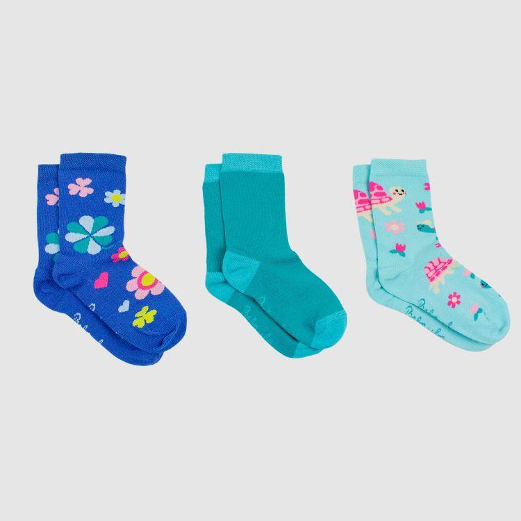 Baby-3er Set SockiSocks - Petrol/SpringTurtles/ColorfulCloverLeaves