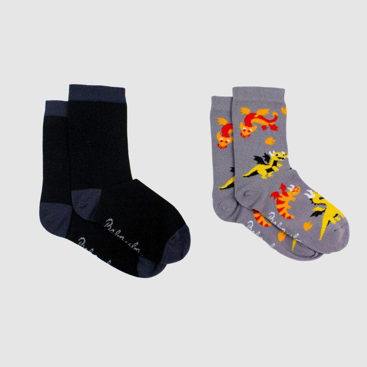 Kids-2er Set SockiSocks - Schwarz/DragonFriends