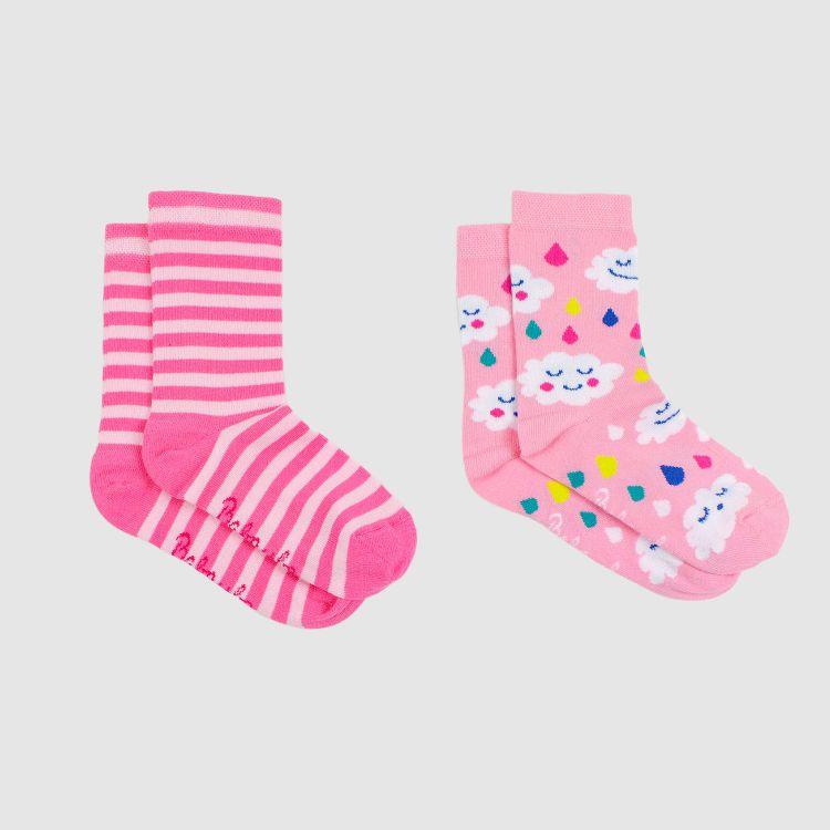 Kids-2er Set SockiSocks - SpringClouds/Stripes-Pink