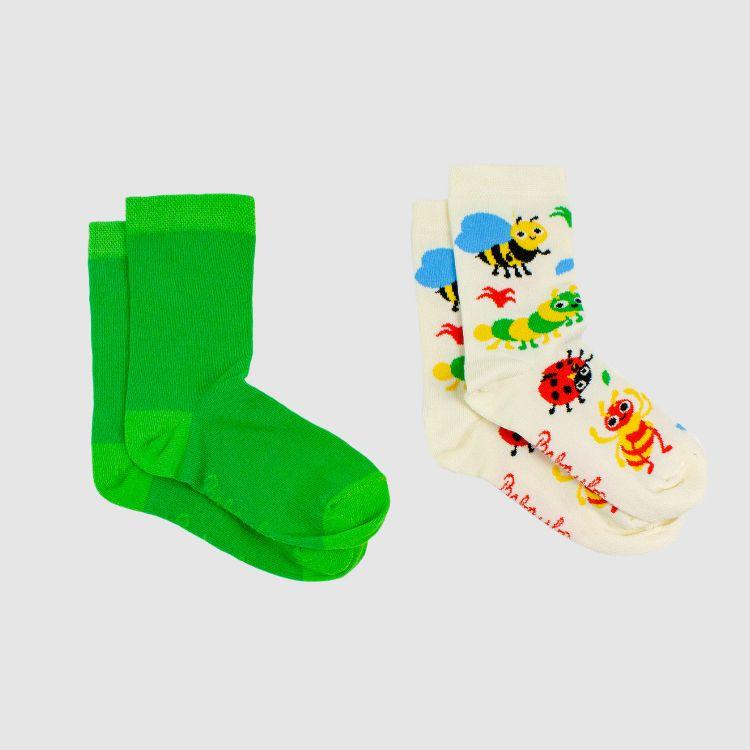 Baby-2er Set SockiSocks - Waldgrün/BugsBugsBugs